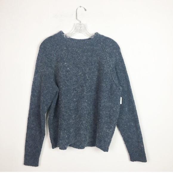9806b3b16e71d ... fuzzy cropped hi neck sweater navy S. M 5c01e422aa5719d1cc486932